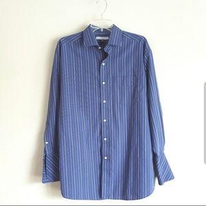 Tommy Hilfiger Blue Striped Cufflink Dress Shirt